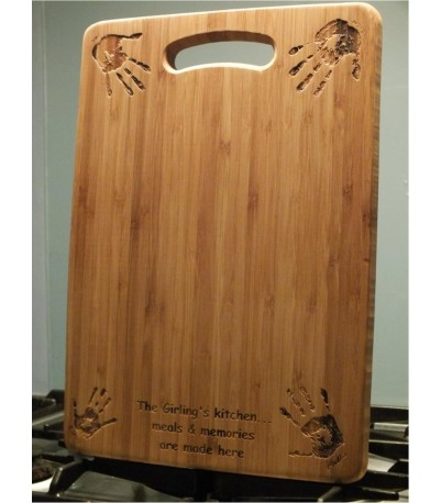 Bamboo laser etched hand print chopping board