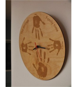 Birch wood laser etched hand print clock