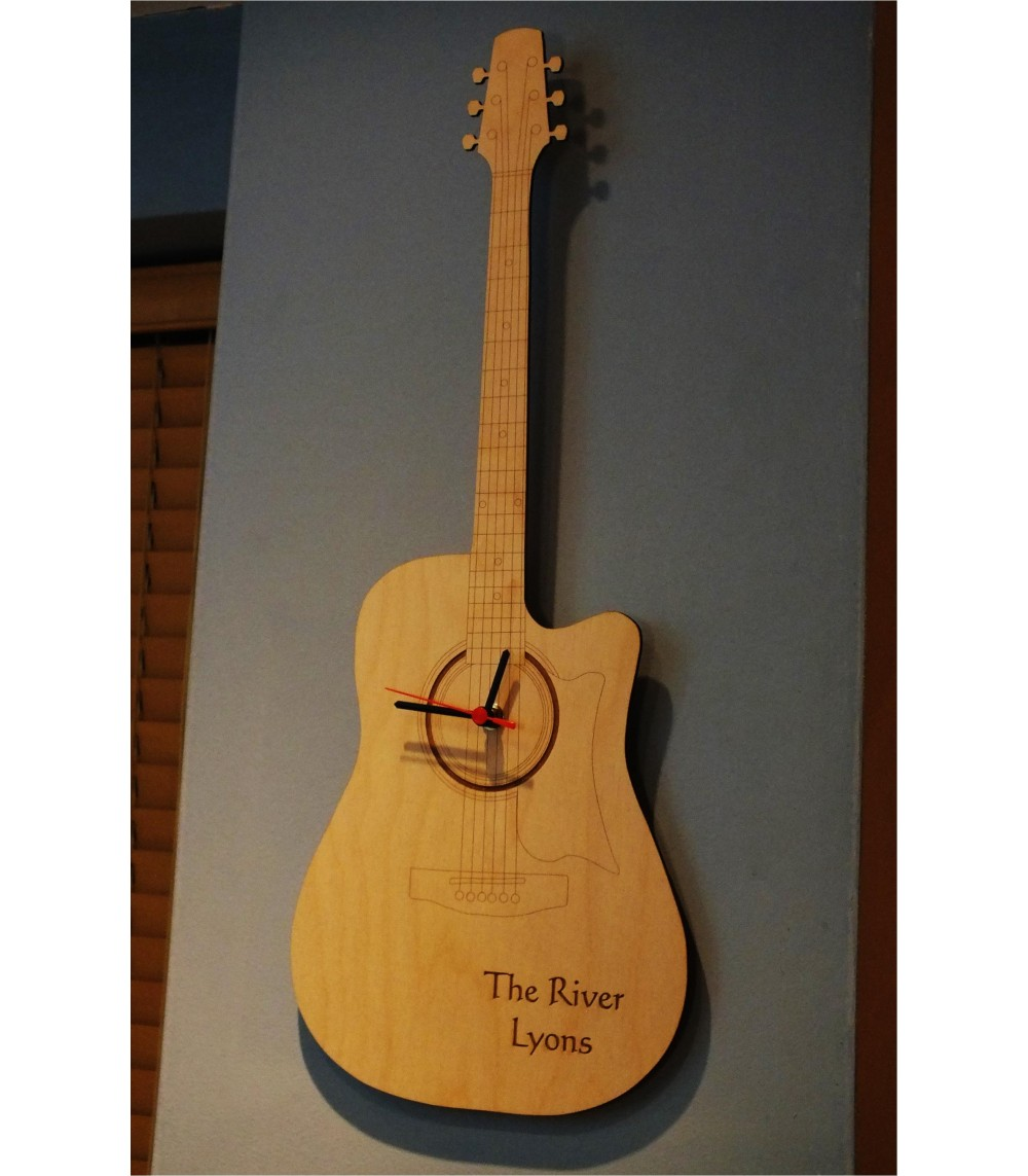 Personalised Guitar Wall Clock Laseruscouk