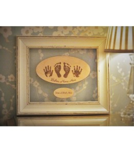 Framed laser engraved hand, foot prints, name and date of birth