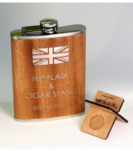 Black Metal Hip Flask with Cigar Stand