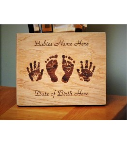 Childs Hand and Foot prints in Oak