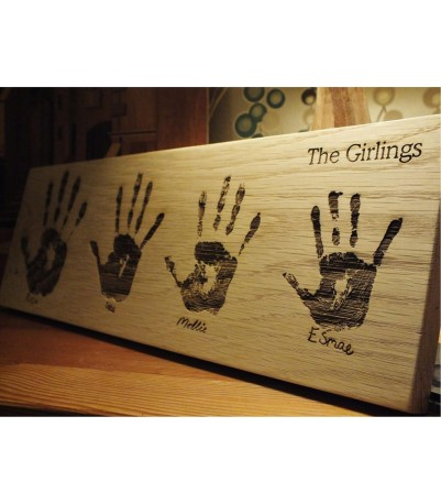 Your hand print laser engraved in solid oak - Landscape format