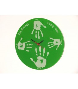 Lime green acrylic hand print clock