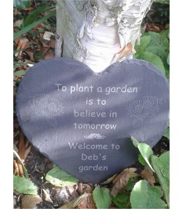 Personalised laser engraved garden heart slate