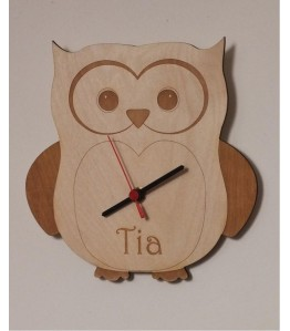 Personalised Laser Engraved Wooden Owl Clock