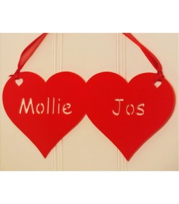 Personalised red acrylic hearts