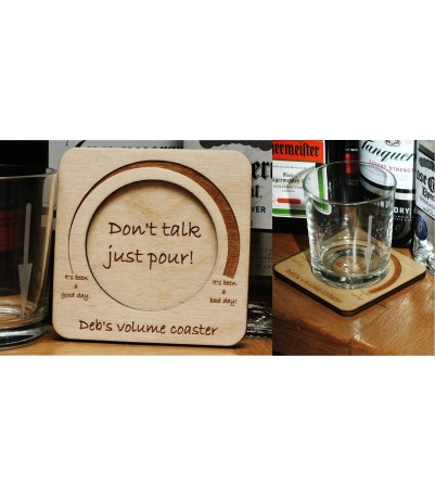Personalised volume coaster and glass set