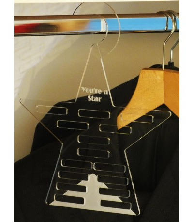 Acrylic tie and belt hanger