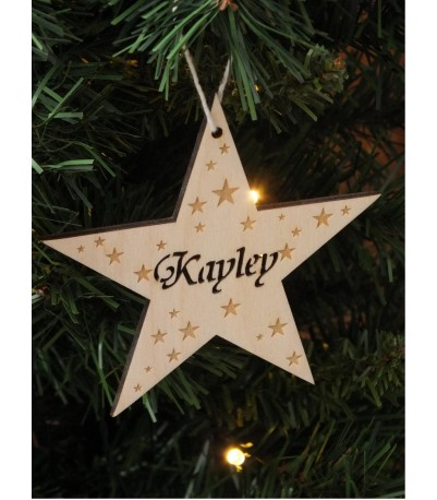 Personalised wooden star bauble